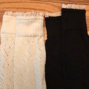 Cream and black boot cuff bundle with lace detail